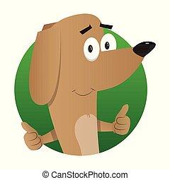 sinal., cima, cão, ilustrado, polegares, fazer, caricatura