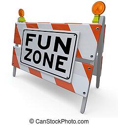 sinal, construção, divertimento, zona playground, barricada, crianças