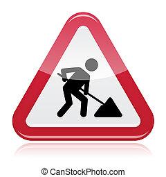 sinal, construção, trabalhos estrada