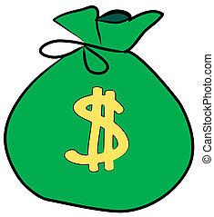sinal, dinheiro, dólar, saco, frente