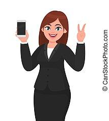 sinal, em branco, tecnologia, style., paz, célula, bonito, tela, esperto, mostrando, ilustração, mão, telefone, fingers., caricatura, móvel, móvel, executiva, gesticule, vitória, v, fazer, ou