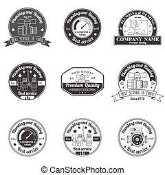 sinal, logotipo, encanamento, identidade, design., serviços, conceito, negócio, badges., company., elegante, incorporado, template., monocromático, vindima, aquecimento, jogo, seu, etiquetas