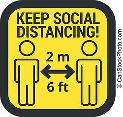 sinal, mantenha, cofre, distância, social