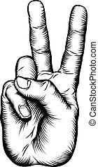 sinal paz, vitória, v, mão, ou, saudação