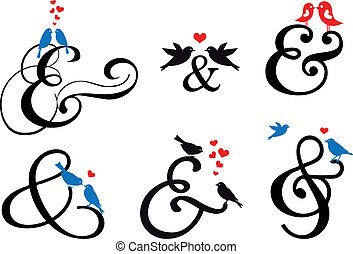 sinal, vetorial, pássaros, ampersand