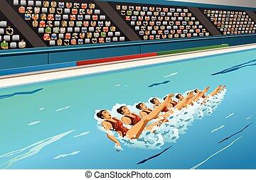 sincronizado, competição, natação