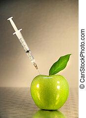 siringa, close-up, maçã verde