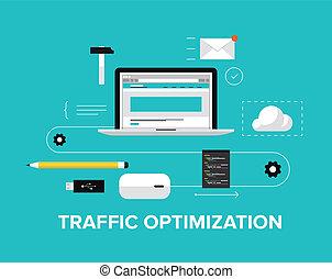 site web, apartamento, optimization, tráfego, ilustração