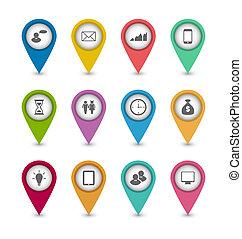 site web, jogo, esquema, ícones negócio, desenho, infographics