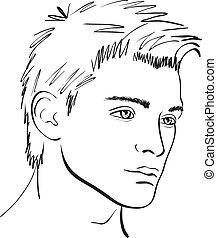 sketch., rosto, vetorial, projete elemento, homem