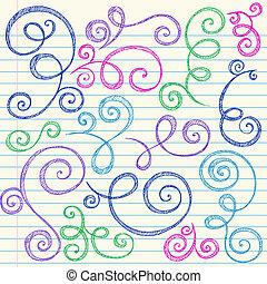 sketchy, doodle, jogo, redemoinhos, vetorial