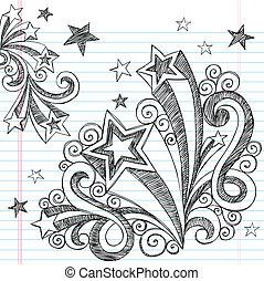 sketchy, doodle, tiroteio, desenho, estrela