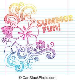 sketchy, doodle, verão, hibisco
