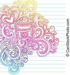 sketchy, nota, música, vetorial, doodles