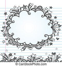 sketchy, nuvem, doodle, vetorial, quadro
