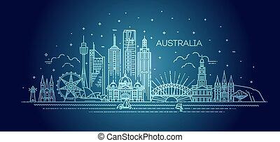 skyline, linear, vetorial, illustration., famosos, arquitetura, cityscape, linha, marcos, austrália