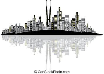 skyline, vetorial, fundo