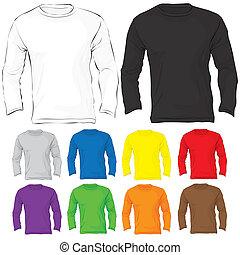 sleeved, cor, muitos, homens, longo, t-shirt, modelo