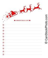 sleigh, santa, lista natal, desejo, modelo, vetorial