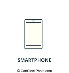 smartphone, linear, conceito, símbolo, ilustração, sinal, vetorial, ícone, linha, esboço