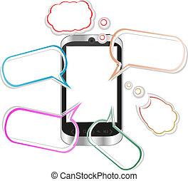 smartphone, semelhante, -, fala, iphone, origami, bolhas