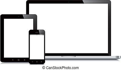 smartphone, tabuleta, mockup, laptop, fundo, branca
