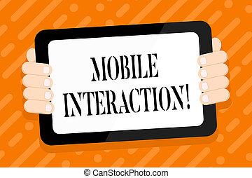 smartphone, usuários, tabuleta, colora fotografia, tela, computadores, costas, handheld, escrita, negócio, móvel, interação, texto, mão, entre, conceitual, interaction., gadget., mostrando
