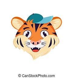 smile., caricatura, rosto, áfrica, personagem, boné, alegre, emoções, feliz, cute, animais, tiger, selvagem, focinho