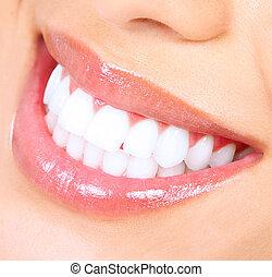 smile., mulher, whitening., dentes