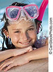 snorkel, óculos proteção, criança, menina, piscina, feliz