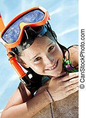 snorkel, óculos proteção, menina, feliz, piscina, natação