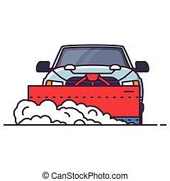 snowplowing, vista, car, frente