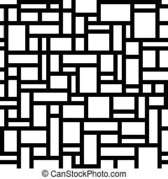 sobre, abstratos, pretas, geomã©´ricas, seamless, retângulos, pattern., branca