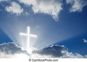 sobre, crucifixos, céu, cristão, ensolarado, bonito