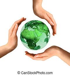 sobre, globo, reciclagem, conceitual, terra, símbolo