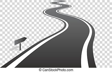 sobre, linhas, partindo, enrolamento, horizonte, branca, estrada