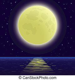 sobre, mar, lua