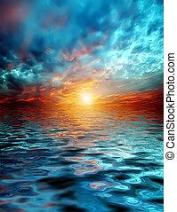 sobre, pôr do sol, lago