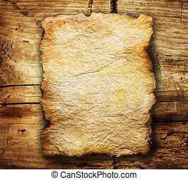 sobre, papel, antigas, fundo, madeira, folha