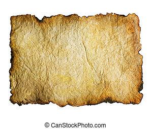 sobre, papel, antigas, queimado, bordas, branca