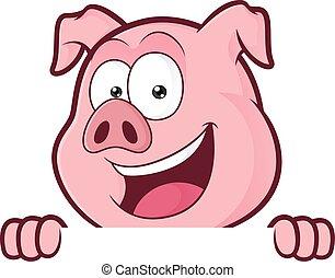 sobre, porca, olhar, tábua, segurando, sinal branco