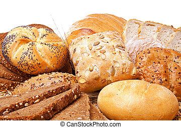 sobre, sortimento, pão branco, assado