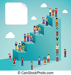 social, global, crescimento, rede, pessoas