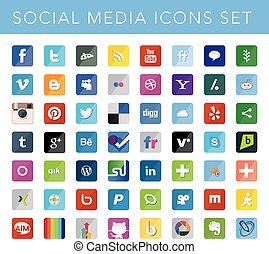 social, mídia, ícones, jogo