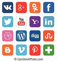 social, mídia, ícones