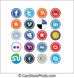 social, mídia, vetorial, ícones