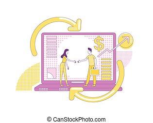 sociedade, negócio, promoção, criativo, marketing, estratégia, design., magra, caricatura, vetorial, linha, influencers, sócios, affiliate, caráteres, conceito, 2d, illustration., internet, teia, idéia, programa