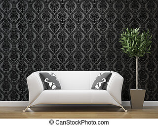sofá, branca, papel parede, pretas, prata
