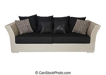 sofá, branca, travesseiros, isolado