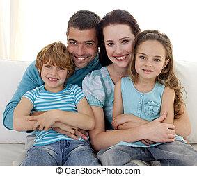 sofá, junto, família, sentando